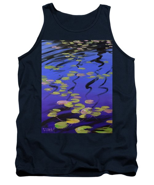 Lilies On Blue Water Tank Top