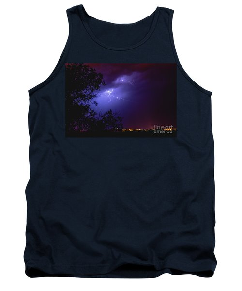 Rays In A Night Storm With Light And Clouds. Tank Top
