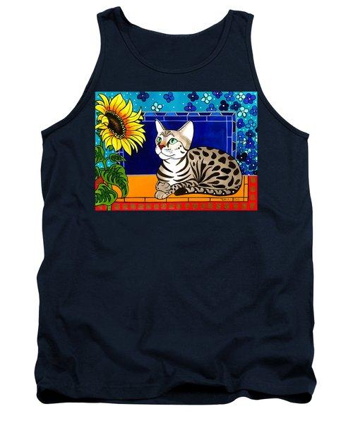 Beauty In Bloom - Savannah Cat Painting Tank Top