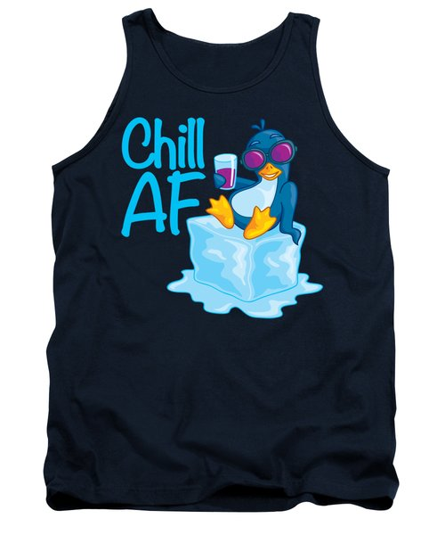 Chill Af Penguin On Ice Tank Top