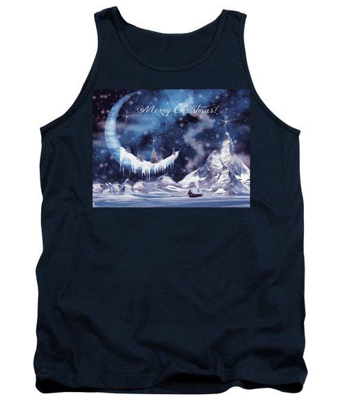 Christmas Card With Frozen Moon Tank Top