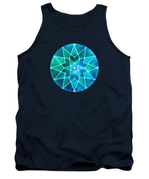 Cosmic Geometric Seed Of Life Crystal Turquoise Lotus Star Mandala Tank Top