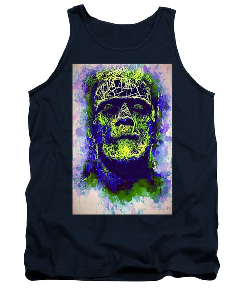 Tank Top featuring the mixed media Frankenstein Watercolor by Al Matra