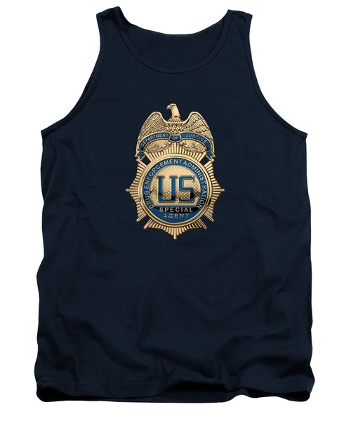 Drug Enforcement Administration -  D E A  Special Agent Badge Over Blue Velvet Tank Top