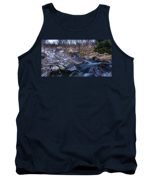 Frozen River And Winter In Forest Tank Top