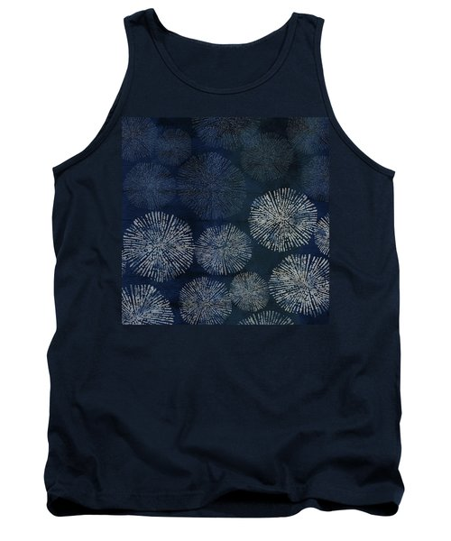 Shibori Sea Urchin Burst Pattern Dark Denim Tank Top