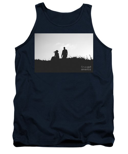 Silhouette Of Couple In Love With Wedding Couple On Top Of A Hil Tank Top
