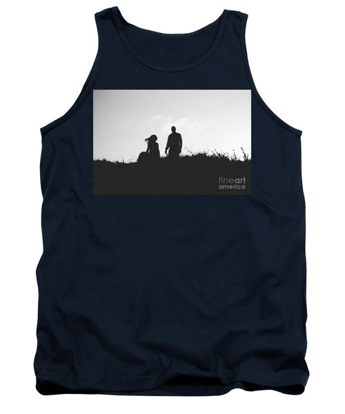 Silhouette Of Couple In Love With Wedding Couple On Top Of A Hill Tank Top