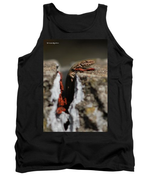 Tank Top featuring the photograph  A Lizard Emerging From Its Hole by Stwayne Keubrick