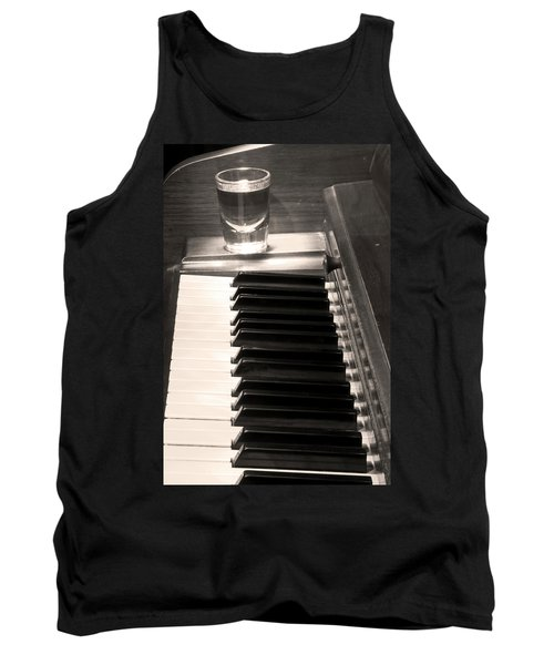 A Shot Of Bourbon Whiskey And The Bw Piano Ivory Keys In Sepia Tank Top