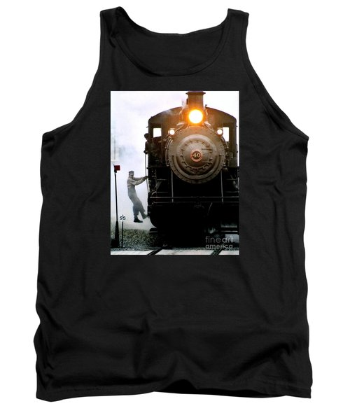 All Aboard The Number 40 At New Hope Pennsylvania Train Terminal Tank Top by Michael Hoard
