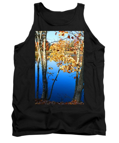 Autumn Trees On The Lake Tank Top by Lesa Fine