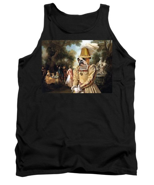English Bulldog Art Canvas Print - The Noble Party In Palace Park Tank Top
