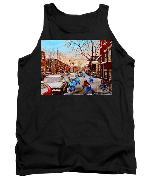 Hockey Art- Verdun Street Scene - Paintings Of Montreal Tank Top