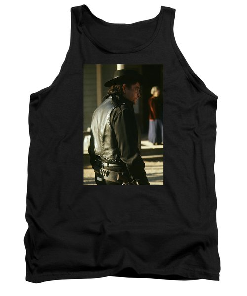 Tank Top featuring the photograph  Johnny Cash About To Draw On Kirk Douglas Old Tucson Arizona 1971 by David Lee Guss