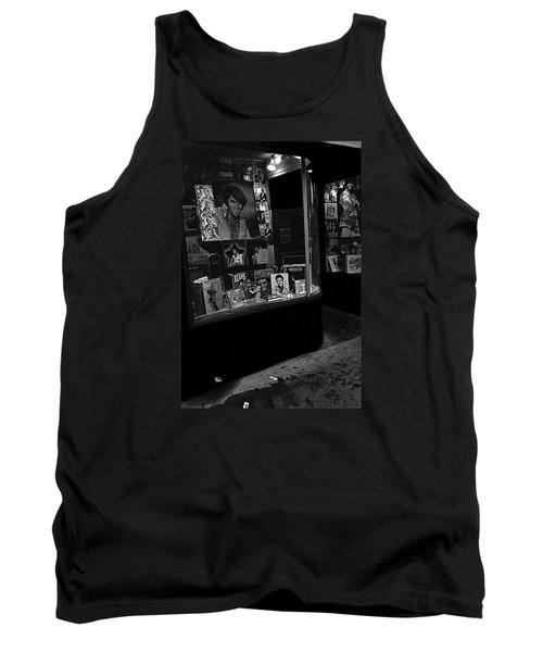 Tank Top featuring the photograph  Window Display Night Of Elvis Presley's Death Recordland Portland Maine  1977 by David Lee Guss