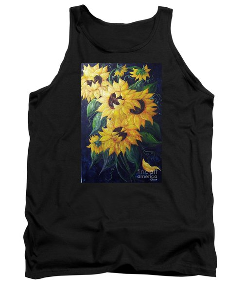Tank Top featuring the painting Dancing Sunflowers  by Eloise Schneider