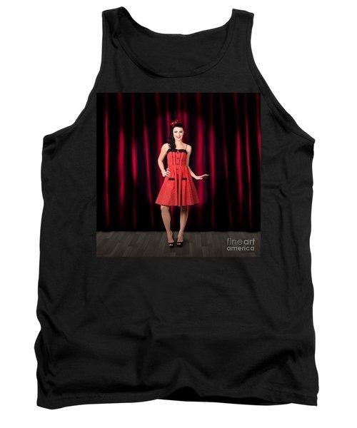 Dancing Woman Wearing Retro Rockabilly Dress  Tank Top
