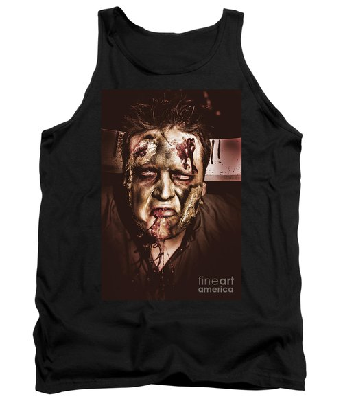Dark Scary Halloween Zombie With Bloody Mouth Tank Top