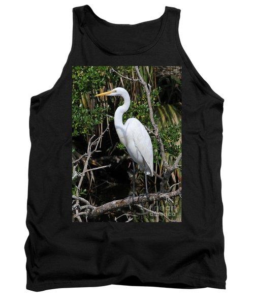 Great Egret Perched In Fallen Tree Tank Top