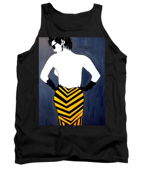 Tank Top featuring the painting Lady In Stripes by Nora Shepley