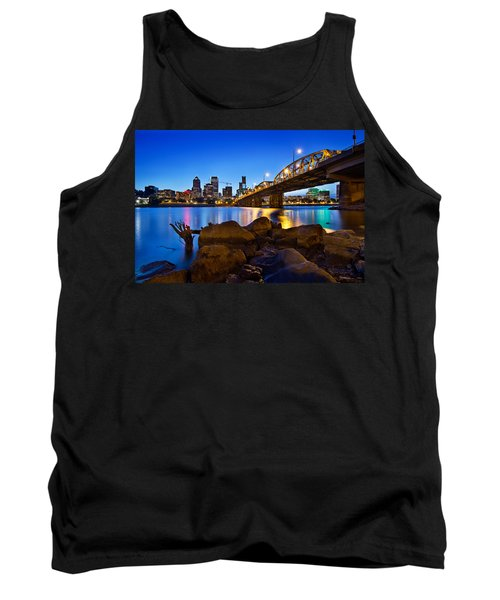 Tank Top featuring the photograph Portland Oregon Skyline At Blue Hour by JPLDesigns