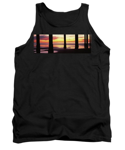 Silhouette Of A Pier In The Pacific Tank Top