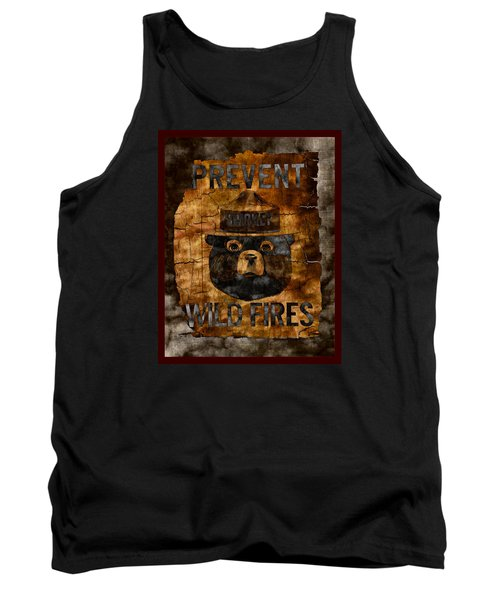 Smokey The Bear Only You Can Prevent Wild Fires Tank Top by John Stephens