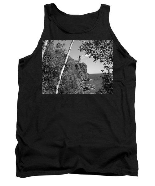 Split Rock Black And White Tank Top by Bonfire Photography