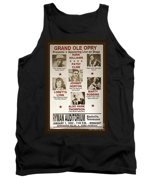 Vintage 1953 Grand Ole Opry Poster Tank Top by John Stephens