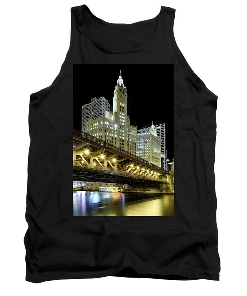 Tank Top featuring the photograph Wrigley Building At Night by Sebastian Musial
