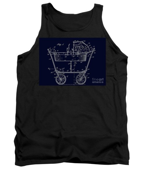 1922 Baby Carriage Patent Art Blueprint Tank Top
