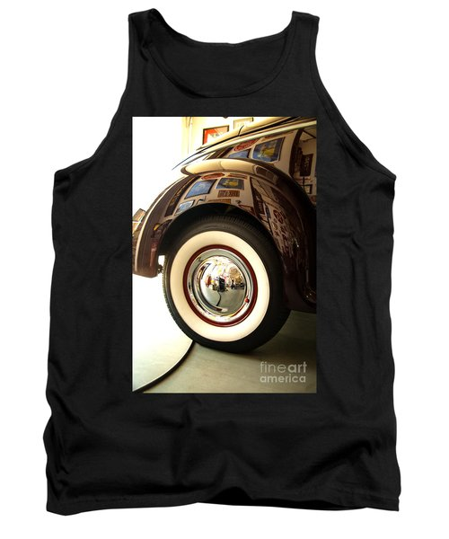 Tank Top featuring the photograph Classic Maroon 1940 Ford Rear Fender And Wheel   by Jerry Cowart
