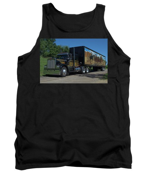 Smokey And The Bandit Tribute 1973 Kenworth W900 Black And Gold Semi Truck Tank Top by Tim McCullough
