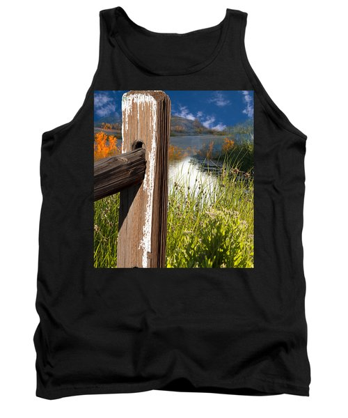 Landscape With Fence Pole Tank Top