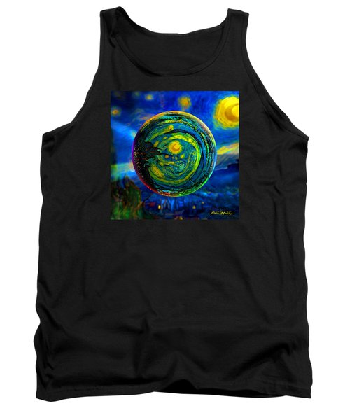 Tank Top featuring the digital art Orbiting A Starry Night  by Robin Moline