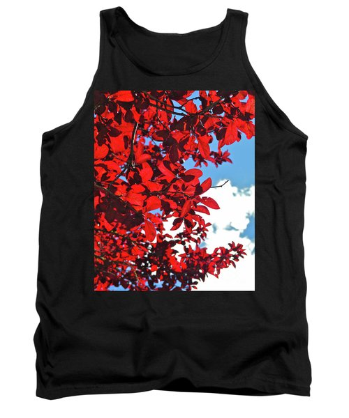 Plum Tree Cloudy Blue Sky 3 Tank Top by CML Brown