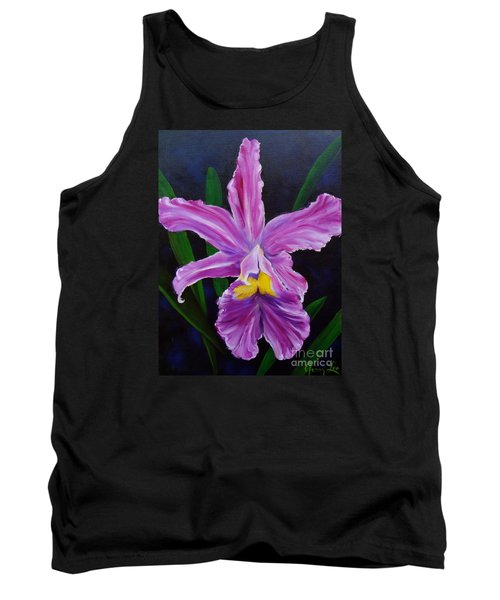 Tank Top featuring the painting Purple Orchid by Jenny Lee