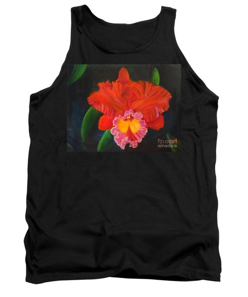 Tank Top featuring the painting Red Orchid by Jenny Lee