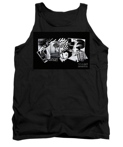 Tank Top featuring the mixed media 2d Elements In Black And White by Xueling Zou