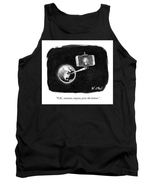 A Cell Phone Camera Is Held In Outer Space Tank Top