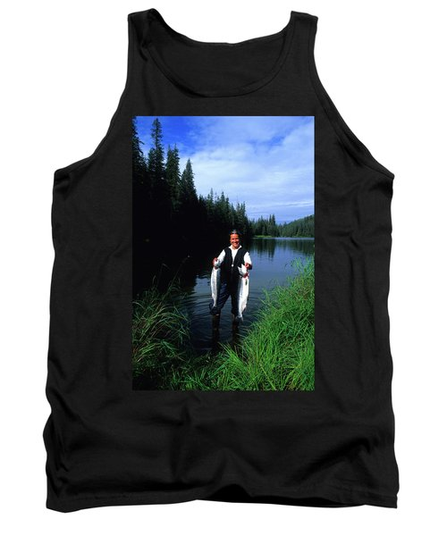 A Female Angler Holds Two Silver Coho Tank Top