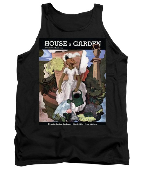 A House And Garden Cover Of A Woman Watering Tank Top
