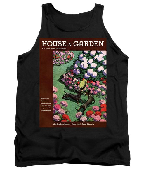 A House And Garden Cover Of Dachshunds With A Hat Tank Top