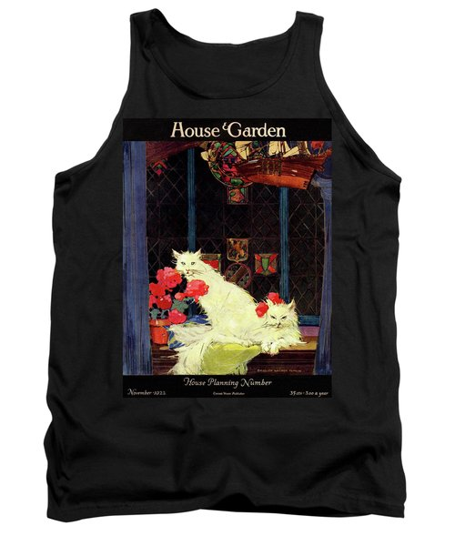 A House And Garden Cover Of White Cats Tank Top