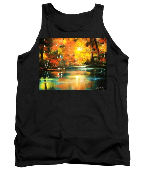 Tank Top featuring the painting A Light In The Forest by Al Brown