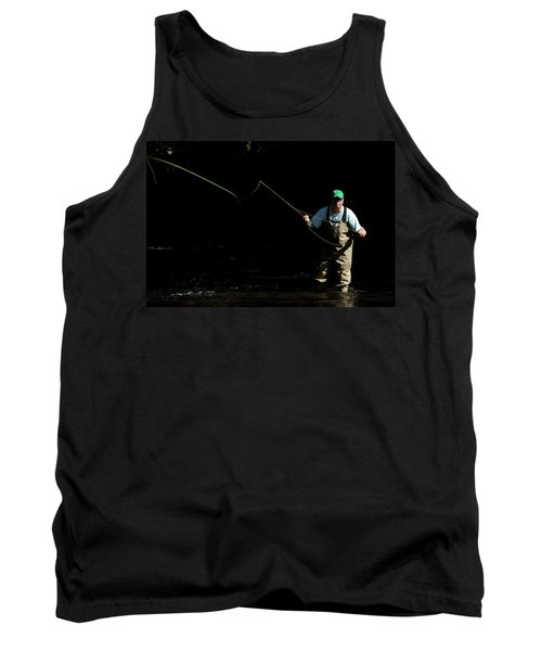 A Man Fly Fishes In Gunpowder State Tank Top