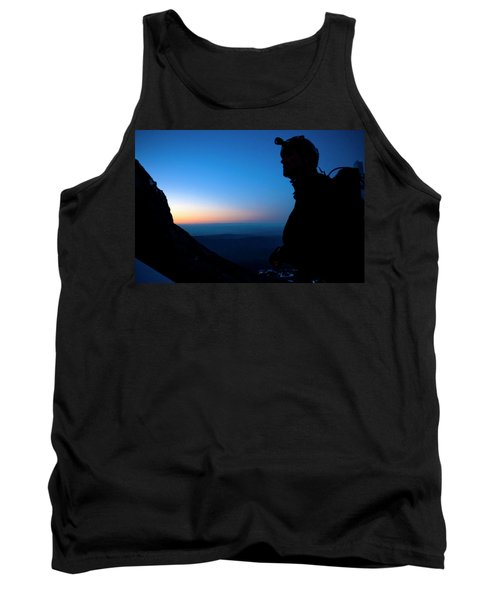 A Man Looks Up At The Summit Of Mount Tank Top