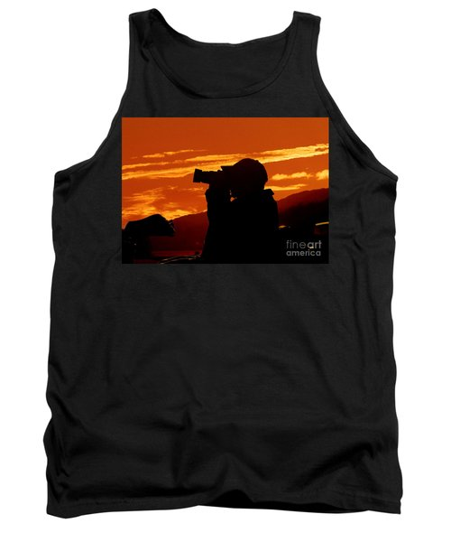 Tank Top featuring the photograph A Photographer Enjoying His Work by Kathy Baccari