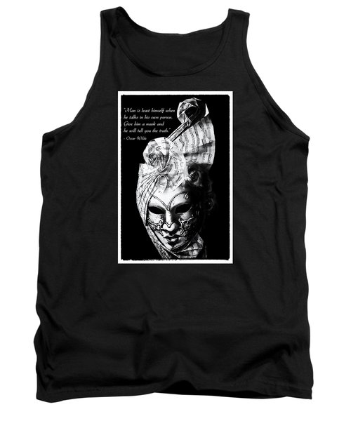 A Picture Of A Venitian Mask Accompanied By An Oscar Wilde Quote Tank Top